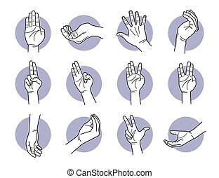 doigts, paume, main, gestures.