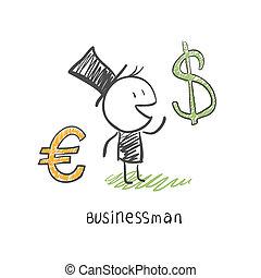 dolar., business, chooses, illustration, deux, entre, homme affaires, devises, euro