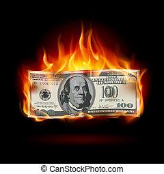 dollar, brûlé