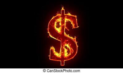 dollar, brûlé, signe