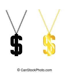dollar, chaîne, illustration