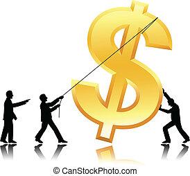 dollar, collaboration, monnaie