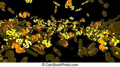 dollar, finance, noir, doré, arrière-plan., 3d, symboles, tomber, événement, render