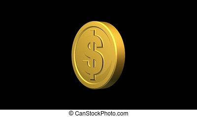 dollar, or, tourner, signe, monnaie