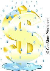 dollar, pluie, signe