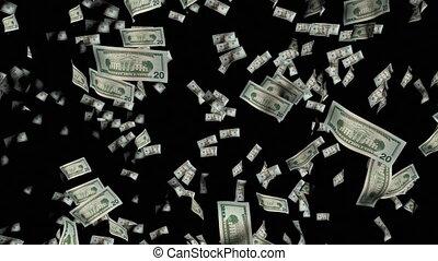 dollars, animation, tomber