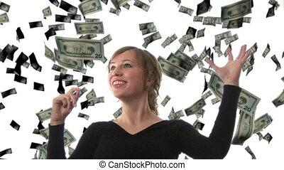 dollars, attraper, femme affaires