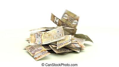 dollars, tomber, canadien