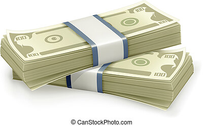 dollars, vecteur, pile
