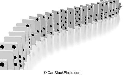 domino, animation, effet, 3d