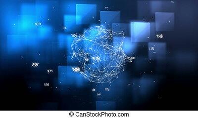 données, arrière-plan bleu, numérique, globe