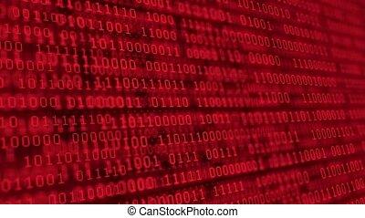 données, arrière-plan., code, algorithm, decryption, matrice, coder, code, résumé, en mouvement, rouges, rang, binaire, binaire, screen., fond, chiffres