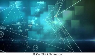 données, bleu, en mouvement, fond, connecté, contre