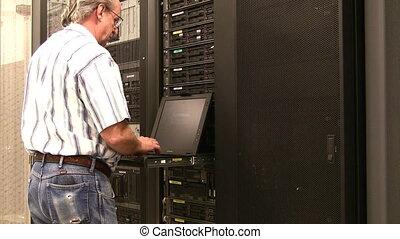 données, console, centre, ingénieur