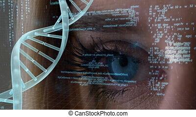 données, fond, adn, oeil, composite, information, bleu