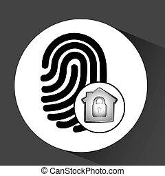 données, graphique, informatique, protection, empreinte doigt