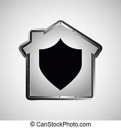 données ordinateur, bouclier, protection, icône