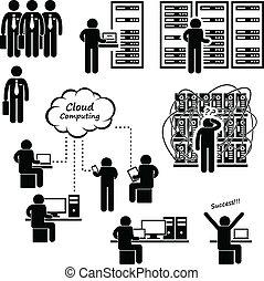 données ordinateur, centre, serveur, réseau