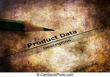 données, produit, grunge, concept