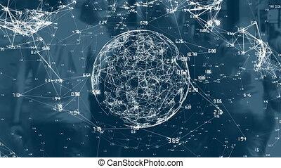 données, rue, rotation, fond, numérique, contre, connexions, globe