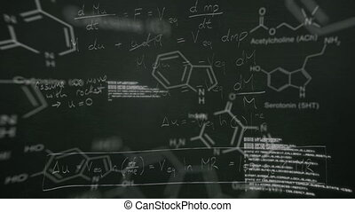 données, scientifique, en mouvement, tableau noir, écrit, craie