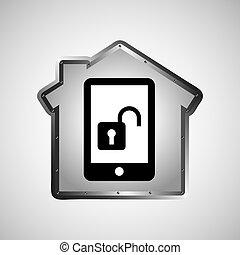 données, smartphone, informatique, protection, icône