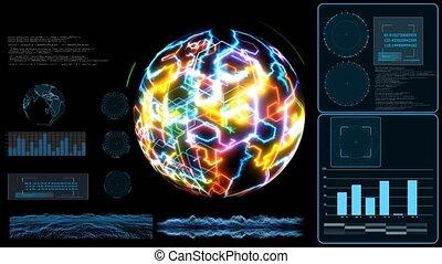 données, technilogy, holographic, laser, numérique, analyse ordinateur, élevé, balayage, moniteur, carte, vitesse, processus, quantum, la terre, grand, futuriste
