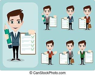 donner, accord, contre, haut, contrat, penchant, homme affaires, vide, amical, pouces