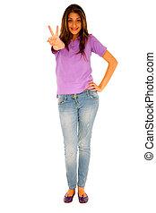 donner, adolescent, paix, girl, signe