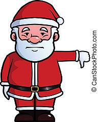 donner, bas, claus, pouces, santa