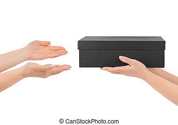 donner, boîte, mains