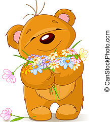donner, bouquet, ours, teddy