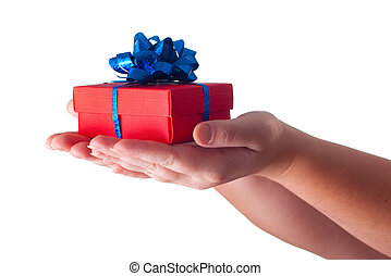 donner, cadeau, mains