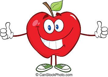 donner, caractère, pomme, pouce haut
