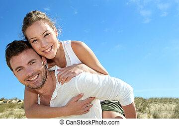 donner, cavalcade, dune, ferroutage, sable, petite amie, homme