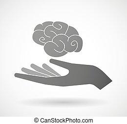 donner, cerveau, main