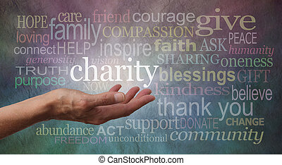 donner, charité, bannière