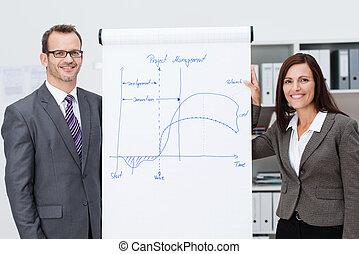 donner, confiant, présentation, equipe affaires