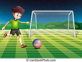 donner coup pied, drapeau, balle, usa, joueur