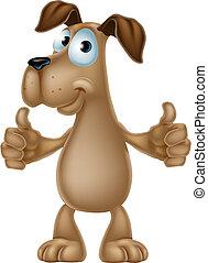 donner, dessin animé, chien, haut, pouces