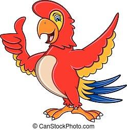 donner, dessin animé, pouce, perroquet, haut