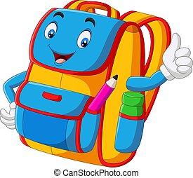 donner, dessin animé, sac à dos, haut, pouces, école