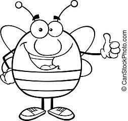 donner, esquissé, abeille, pouce haut
