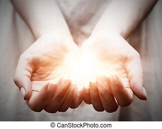 donner, femme, partage, lumière, jeune, offrande, protection, hands.