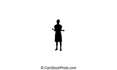 donner, femme, présentation, silhouette