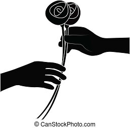 donner, fleur, main