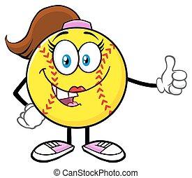 donner, girl, softball, pouce haut