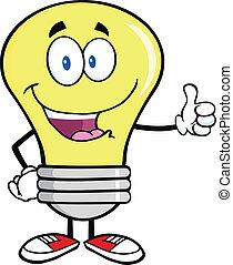 donner, lumière, pouce, ampoule, haut