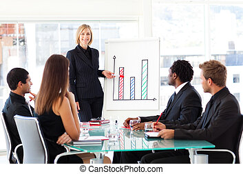 donner, présentation, femme affaires