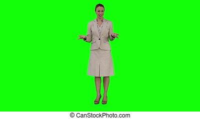 donner, présentation, virtuel, femme affaires
